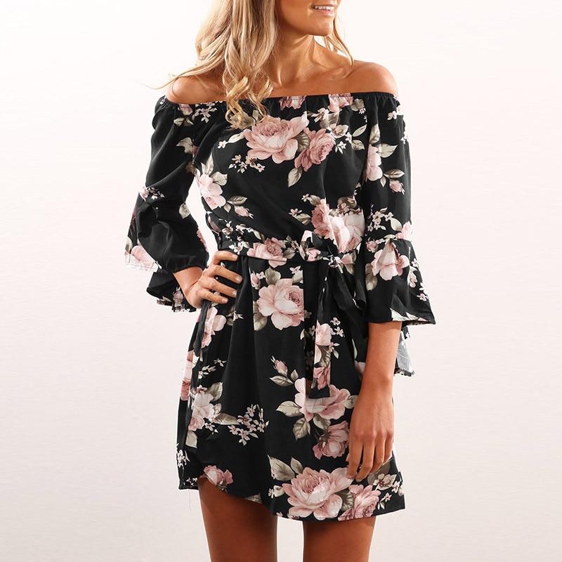 Lossky Women Floral Print Dress Sexy Off Shoulder Sashes Mini Boho Beach Dresses Flare Sleeve XS 3XL Plus Large Size Short Dress