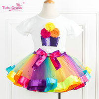 Birthday Outfit Rainbow Ribbon Tutu Set First Birthday Dress New Summer Colorful Tutu Clothing Sets