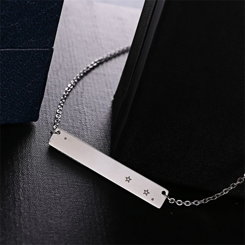 BeUrSelf Zodiac Necklace Stainless Steel Bar Necklace 12 Star Sign Constellations Zodiac Personalized Jewelry for Lover Family