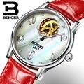 Швейцарские женские часы Binger  модные роскошные часы с кожаным ремешком  автоматические механические часы с турбийоном  B553-2