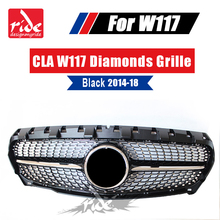 W117 Front Grill Diamond Grille ABS Black CLA-Class CLA200 CLA250 CLA180 CLA300 CLA45 Sports Without sign Grills 2014-2018