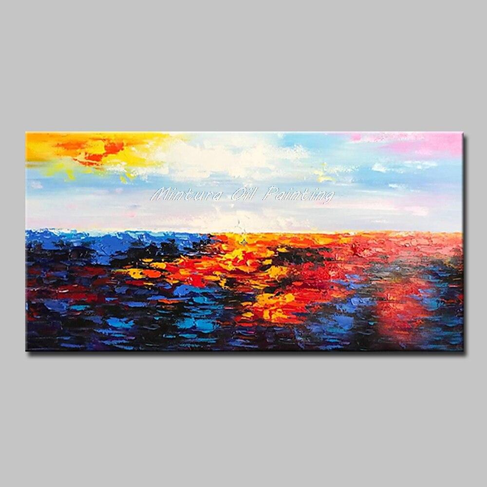 Mintura Art Большой размер Ручная роспись абстрактный пейзаж картина маслом на холсте современный настенный Декор картина для гостиной без рамы - Цвет: MT161270