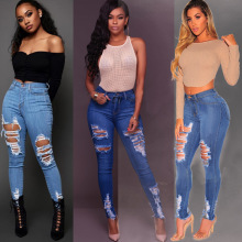 цены на 2019 summer Women Sexy Ripped Denim Jeans Skinny Hole Pants Stretch Daily Shredded jeans Slim ladies High Waist Pencil Trousers  в интернет-магазинах