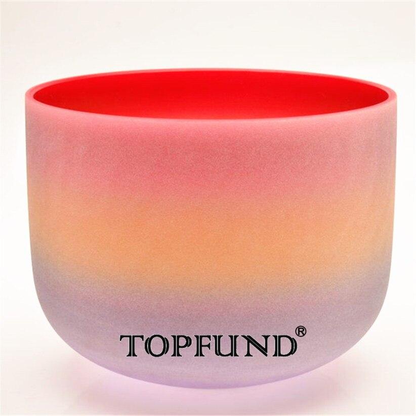 TOPFUND C Примечание корневой чакры Кварцевый Поющая чаша Радуга Цвет матовый 12 , уплотнительное кольцо и молоток, для медитации