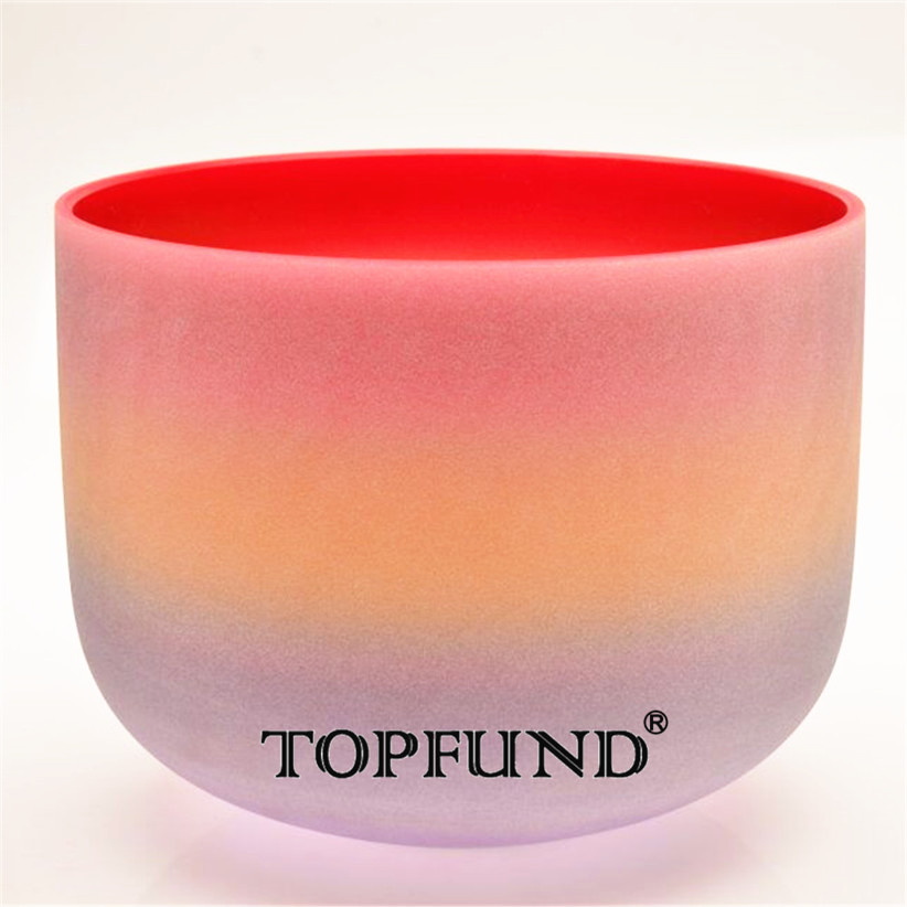 TOPFUND C Note Root Chakra Quartz Crystal Singing Bowl Rainbow Color Frosted 12,O ring and Mallet included,For Meditation
