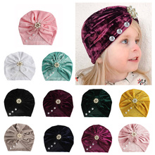 Velvet Baby Hat for Girls Bohemia Girl Cap Newborn Photography Props Beanie Infant Turban Kids Toddler Caps