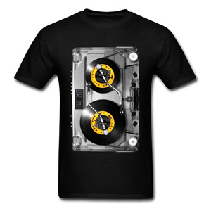 Old School Cassette Tee-Shirt NONSTOP Play Tape T Shirt Electronic Music Rock Tshirts For Men Best Birthday Gift Band T-Shirt(China)