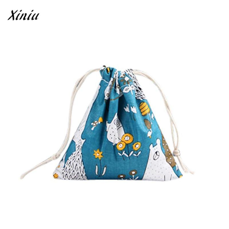 Unisex Cartoon Printing Linen Drawstring Travel Backpack Packet Size Medium bag for shoes drawstring bag bolso terciopelo mujer