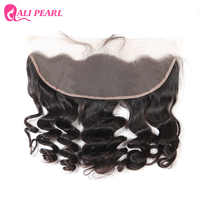 Alipearl Hair Brazilian Loose Wave Human Hair Lace Frontal Closure 13X4 Pre Plucked Free Part 10-20 inch Natural Black Remy Hair