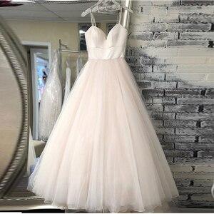 Image 1 - New Spaghetti Strap Beach Wedding Dresses 2020 Vestido Noiva Praia Simple White Ivory Tulle Casamento Bridal Gown Custom Made