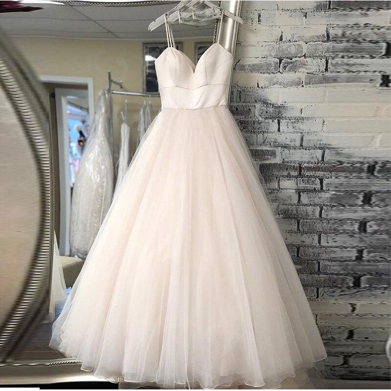 Nova cinta de espaguete praia vestidos de casamento 2019 vestido noiva praia simples branco marfim tule casamento nupcial feito sob encomenda