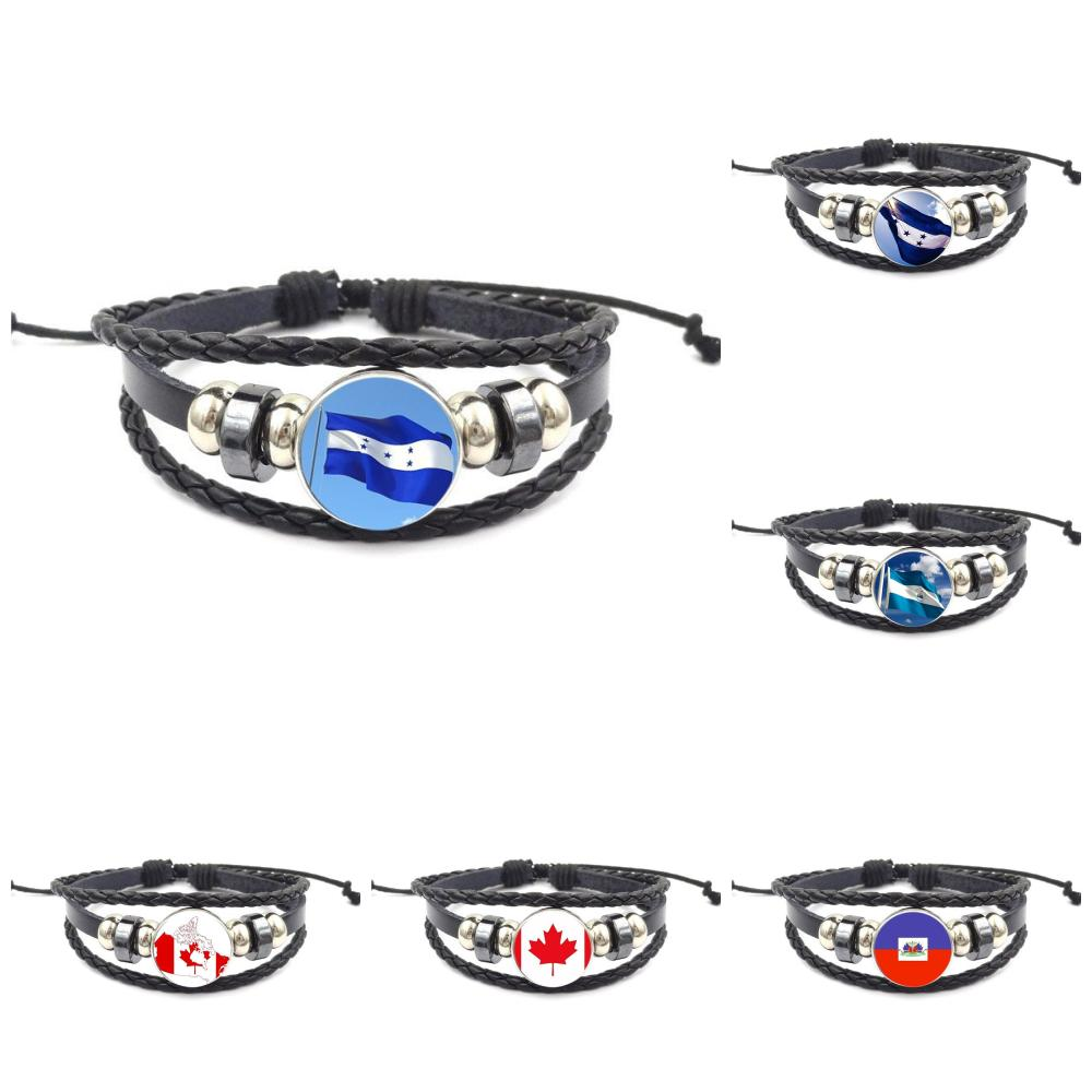 Sunny Haiti And Honduras And Canada Flag Logo Antique Vintage Glass Black Leather Bracelet Bangle Women Jewelry For Women Men Party Special Summer Sale