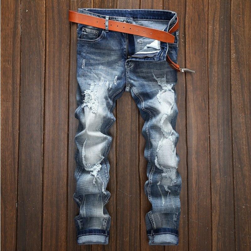 Männer der Wiederherstellung Alte Weisen Mann Löcher Direkt Cuffless Hosen Männlichen Freizeit Zeit Flut Marke Tragen Männer herren Jeans jean dünne homme