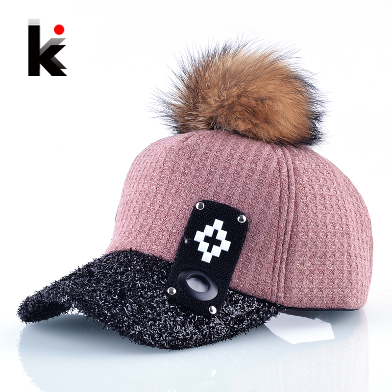 Autumn And Winter Fur PomPom Baseball Caps Women Fashion Street Wear Fluffy Visor Hat Female Snapback Hip Hop Gorras Casquette