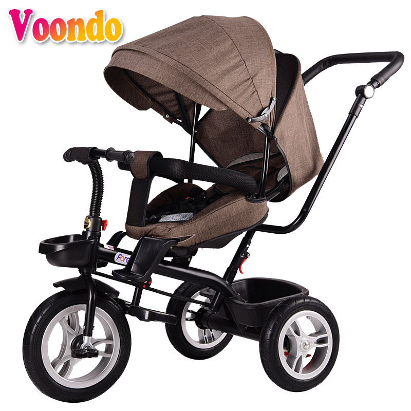 Voondo multi-fonctionnel bébé chariot, bébé équitation sur un tricycle, peut s'asseoir, peut se coucher, le siège peut être tourné, poussette pliable
