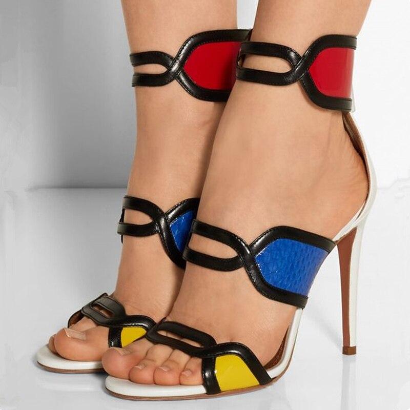 Mixed Color Ankle Strap High Heels Patent Leather Sandalia Feminina Designer Summer Luxury Gladiator Sandals Women Runway Shoes