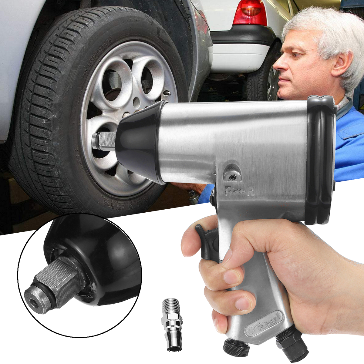 1/2Air Impact Wrench Tool Drive Heavy Duty Pneumatic For Car Wheel Repairing Die Cast Aluminum High Torque Low Noise 4CFM@90PSI high quality heavy duty 1 2 inch pneumatic torque wrench tool air impact wrench 72kg