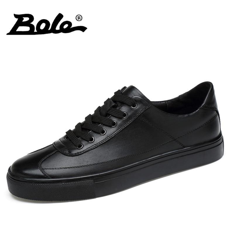 BOLE udsøgte håndlavede mænd ægte lædersko mode designer fritid blonder mænd sko op klassiske små hvide sko mænd lejligheder