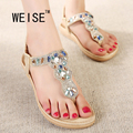 Weise sapatas das mulheres 2017 nova moda verão mulheres sandálias de strass quadrado plano com lazer praia sapatos tamanho das mulheres 35-41