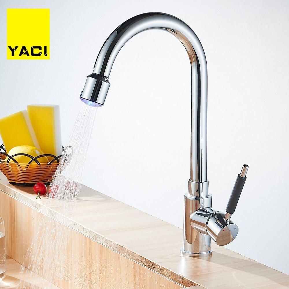 YACI Chrome Spring Pull Down Kitchen Faucet 360 Swivel Handheld Shower Kitchen Mixer Crane Hot Cold LED Taps
