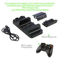 Dual Dock Ladestation Basis mit 2x Wiederaufladbare Batterien Lade AC Ladegerät für Dual Xbox Ein Controller Spielen Ladegerät