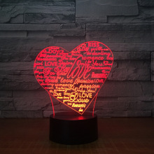 Heart Letters 3d LED lamp 7 Color Novelty For Kids Touch led Usb Table Nightlight Baby Sleeping Room Light Kid's Gift souvenir