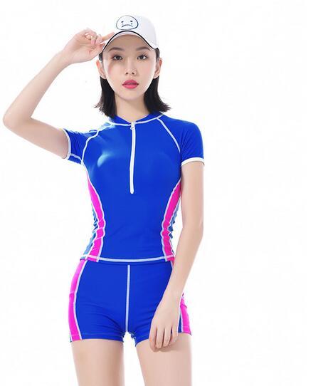 Zipper style sports split swimsuit women small chest