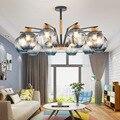 Современные светодиодные люстры из железа и дерева  подвесные лампы  роскошные стеклянные светильники для дома  Светильники для гостиной  п...