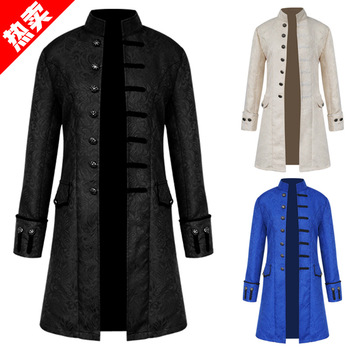 Men Victoria Edwardian Steampunk Trench Coat Frock Outwear Vintage Prince Overcoat Medieval Renaissance Jacket Cosplay Costume фото