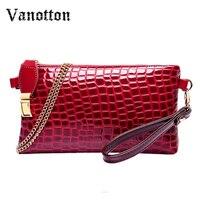 Crocodile Clutch Stone Women Messenger Bags Gorgeous Women Clutch Luxury Ladies Purse PU Leather Handbag Chain