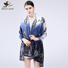 Marte&Joven Vintage Black Floral Women Gradient Soft Chiffon Silk Scarves Shawl Classic Lace Pattern Summer Voile Cape Hijab(China)