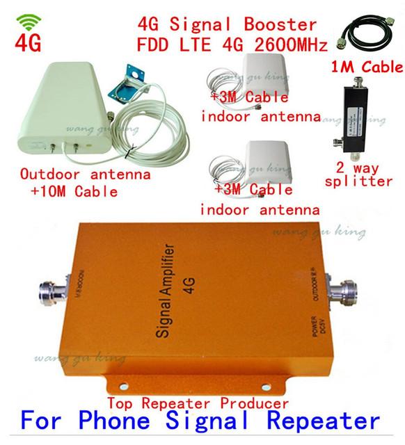 4G FDD 2600 MHz Telefone Celular Repetidor 65db Ganho 4G LTE 2600 mhz Móvel Signal Booster Amplificador Kit com 2 + 1 interior ao ar livre antena
