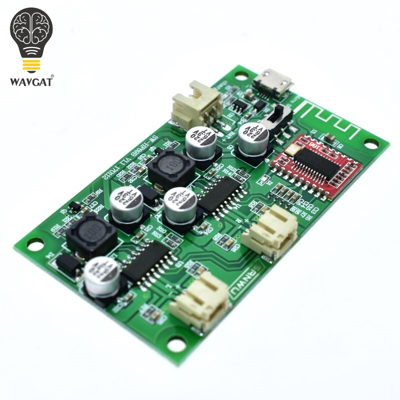 WAVGAT DC <font><b>5V</b></font> 6W X 6W 2 Channel Stereo Bluetooth Amplifier <font><b>Board</b></font> Lithium Battery Powered for Speakers Loudspeaker Box Modified image