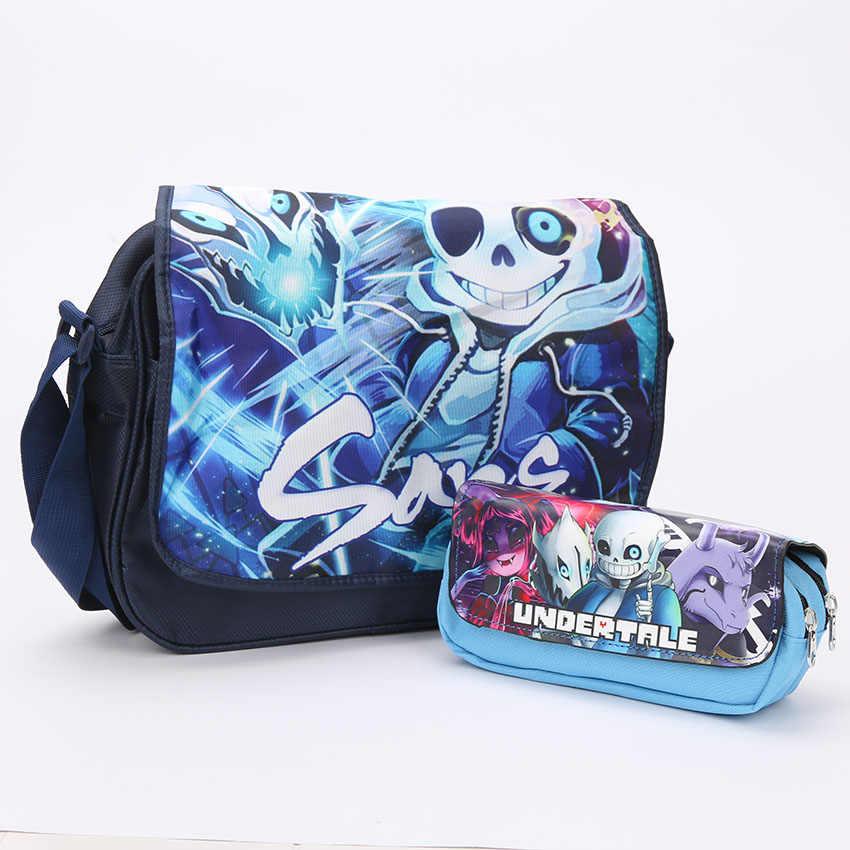 72059b7911fe Мальчики Девочки Undertale Sans сумки-почтальонки с рисунком с пенал  детский школьный рюкзак рюкзаки на