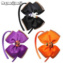 ncmama Halloween Hair Bows for Girls Grosgrain Ribbon 5 Funny Pumpkin/Ghost Bowknot Hairband Hoop Kids Party Headwear