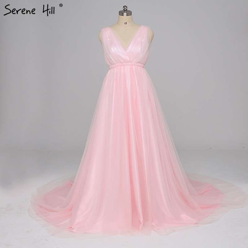 Online Shop Sexy V-neck Backless Pink Evening Dresses 2018 Simple ...