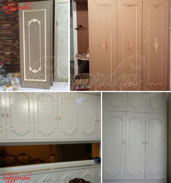 Woodcarving Corner Decal Wooden Applique Frame Wall Door Woodcarving Decal Wooden Figurines Home Decoration Furniture Appliques 6