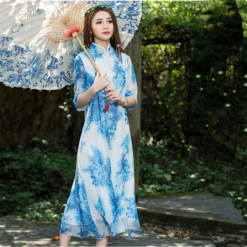 Nature Dress: Nature Color Print Maxi Dress Summer New Chinese Style