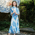 Nature Color Print Maxi Dress Summer New Chinese Style Women Traditional Clothes Fashion 2017 High Quality Design