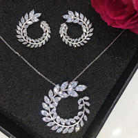 New Design Luxury AAA CZ Olive Branch Shape Pendant Earring Set For Women High Quality Party