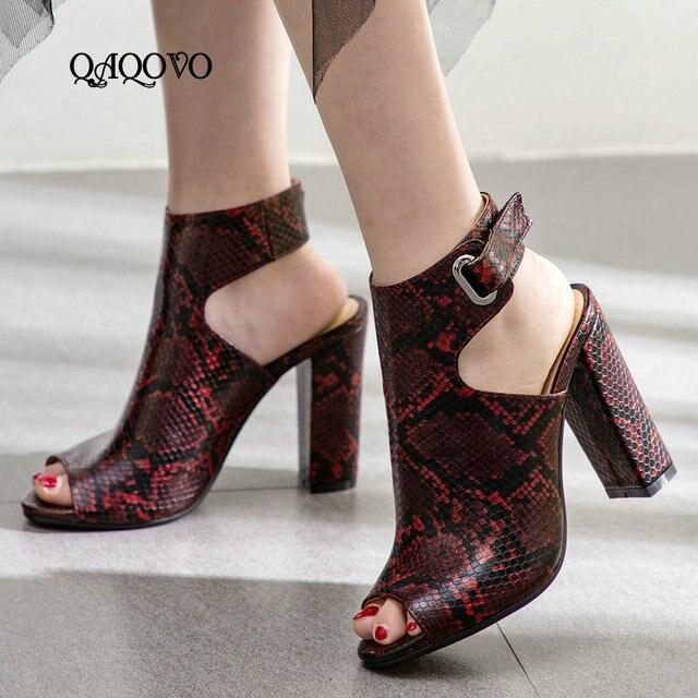 Kadın Yaz yarım çizmeler Yılan Cilt Desen Sandalet Yüksek Topuklu Burnu açık Tıknaz Yüksek Topuklu Gladyatör Sandalet Moda parti ayakkabıları