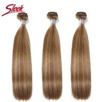 Sleek Virgin One Piece Honey Blonde Double Drawn Brazilian Mink Silky Straight Human Hair Weave Bundles Remy Hair Extensions