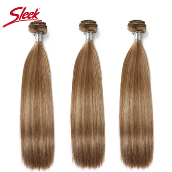 Sleek Virgin One Piece Honey Blonde Double Drawn Brazilian Mink Silky Straight Human Hair Weave Bundles Remy Hair Extensions