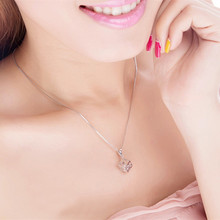 TJP Hot Crystal Cube Women Pendants Necklace Party Jewelry Fashion Girl Bride 925 Silver Choker Accessories Lady Gift