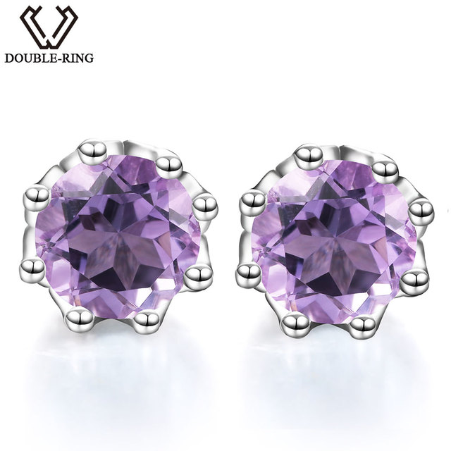 DOUBLE-R Natural Amethyst Gemstone Silver 925 Jewelry Stud Earrings For Women
