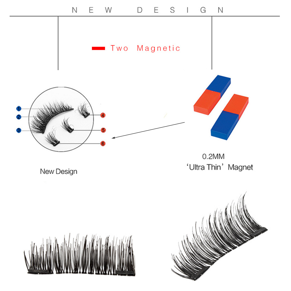 YUKARI 4 PCS whole three Magnetic false Eyelashes make up 3D Semi Hand Made makeup cilios magneticos EyeLash Natural Mink Soft in False Eyelashes from Beauty Health