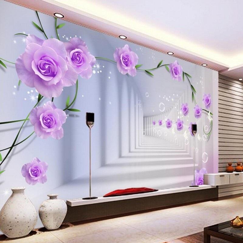 beibehang customize any sizewallpaper 3d living room 19562 | beibehang customize any sizewallpaper 3d living room bedroom backdrop abstract perspective background wallpaper purple flowers