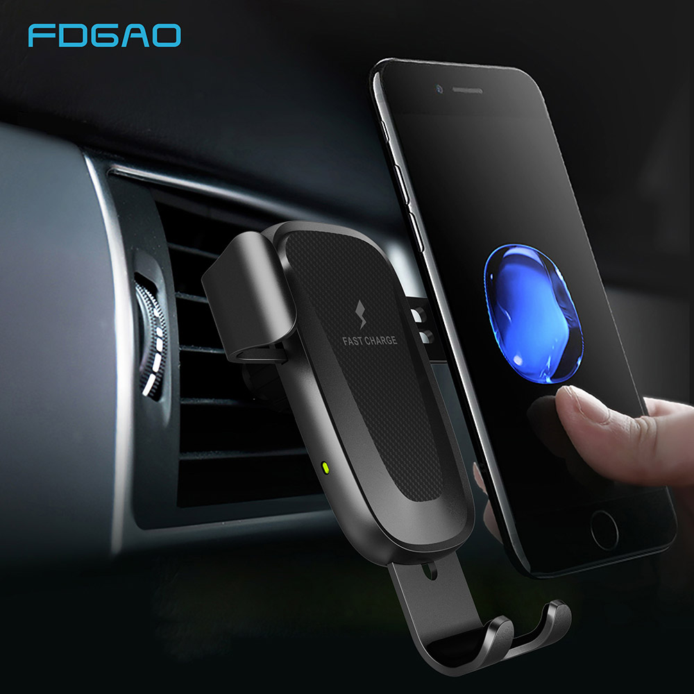 FDGAO Qi Wireless Car Charger 10W Fast Charging Car Mount Clamping Vent Phone Holder For iPhone XS Max XR 8 Samsung S9 S8 Note 9