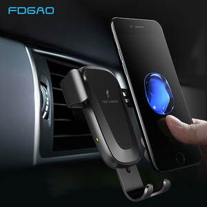 FDGAO Qi Wireless Car Charger 10W Fast Charging Car Mount Clamping Vent Phone Holder For iPhone 11 XS XR 8 Samsung S9 S10 Note 9