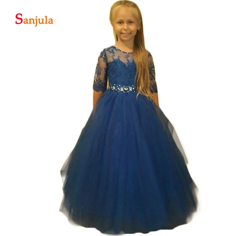 Flower     Girls     Dresses   Navy Blue Lace A-Line Half Lace Sleeve Charming Kids Gowns Beaded Wedding Party Gowns robe de bal fille D73